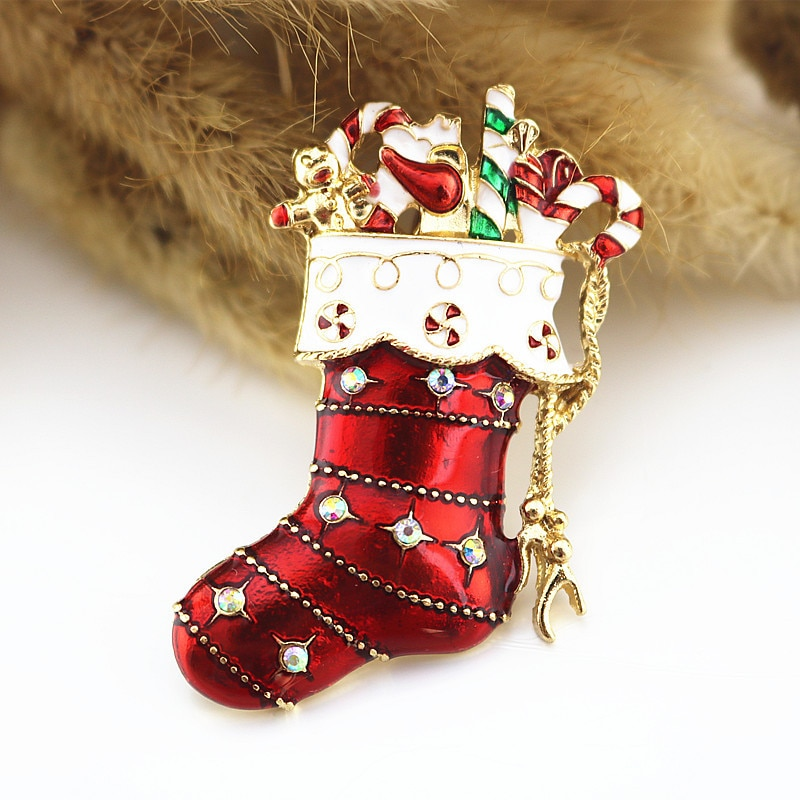 European  American Enamel Christmas gift red Enamel socks festival exquisite fashion coat brooch Boutonniere female