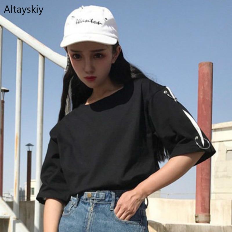 T-shirts Women 2020 Summer Loose White Harajuku Korean Style All-match Womens Embroidery Solid O-Neck Short Sleeve Female Kawaii