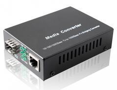 Convertidor de medios Gigabit sfp, convertidor de medios SFP 10/100/1000 M con puerto de fibra SFP. Fuente de alimentación externa.