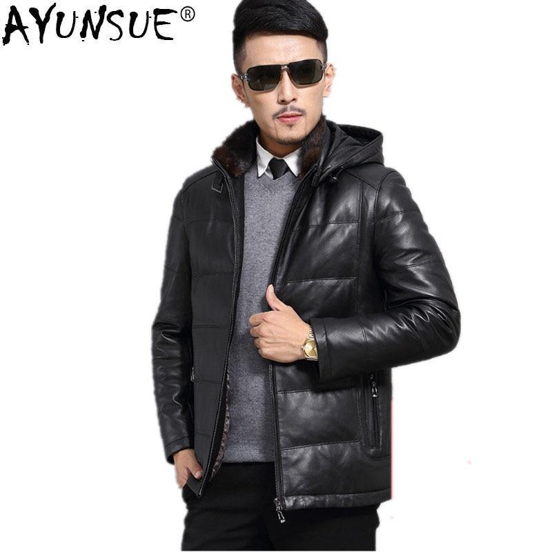 AYUNSUE veste en cuir véritable peau de mouton canard doudoune automne hiver veste hommes grande taille manteau Chaqueta Hombre JLK15726MY1203