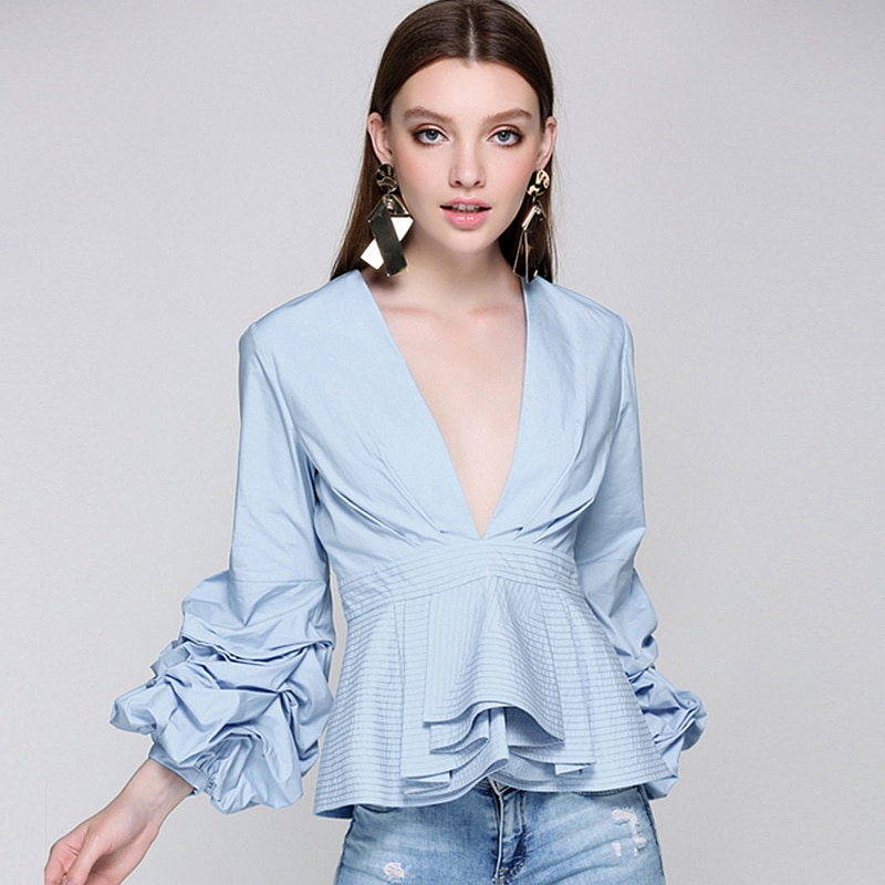 Runway Puff Sleeves Blouse Deep V Neck Ruffles Hem Solid 3 Colors Tops Elegant Style New Fashion 2017 army green v neck half sleeves curved hem blouses