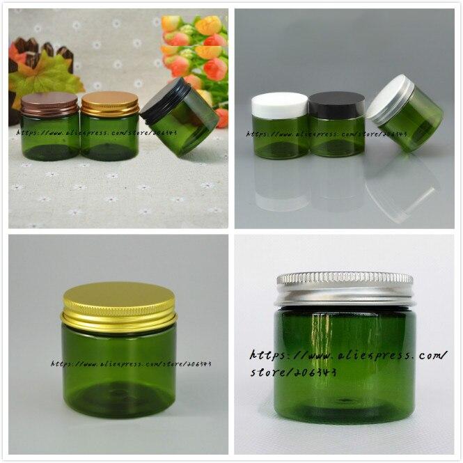 50G botella verde PET/frasco/olla para gel/crema/máscara/esencia/crema/cera de Arte de contenedor para embalaje de cosméticos cuidado de la piel