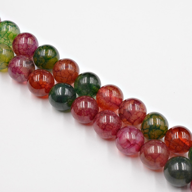 DIY Natural Tourmaline Agates Round Stone Beads Agates Wholesale Loose Beads for Jewelry Making Necklace Free Shipping 4-12mm