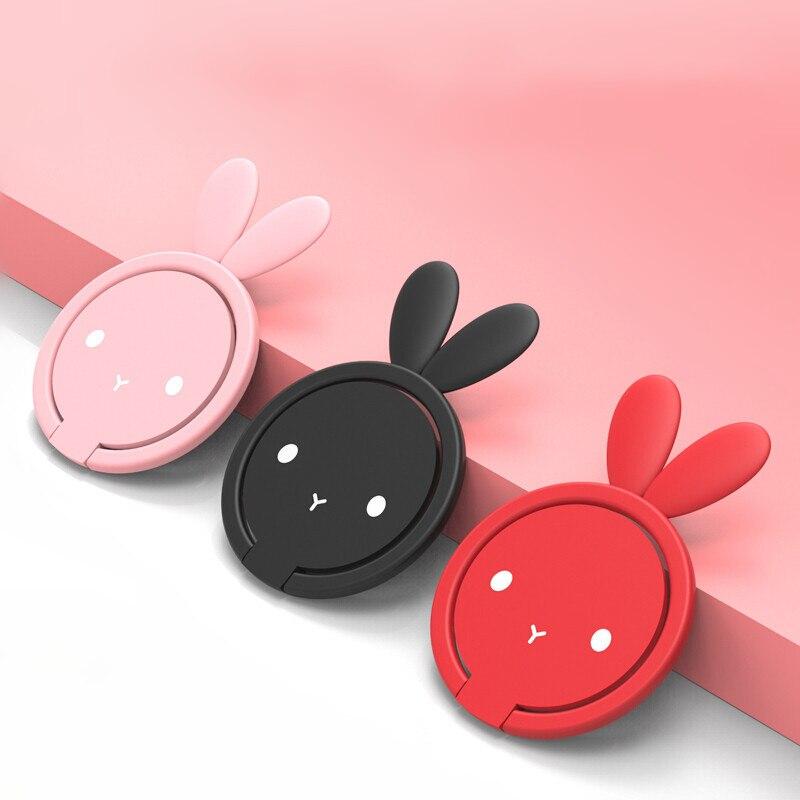 JUSFYU Rabbit Phone Finger Ring Stand Holder For Grip Mobile Phone Holder Smartphone Desk Stand For iphone 6 Finger Ring Holder