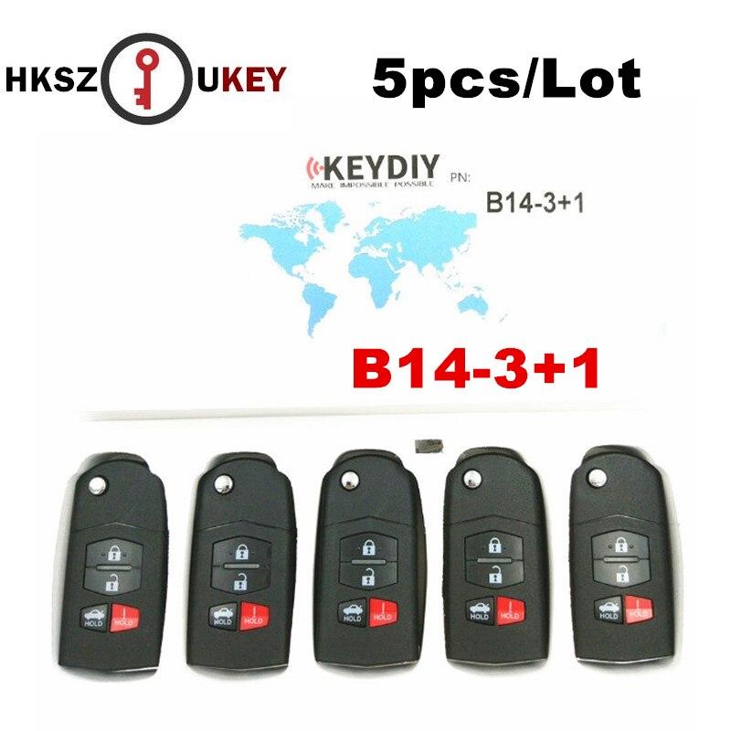 HKSZUKEY 5 PÇS/LOTE 3 + 1 Botões do Controle Remoto Chave Original B14-3 + 1 B Série Remoto para KD900 KD900 KD + URG200 Programador Chave