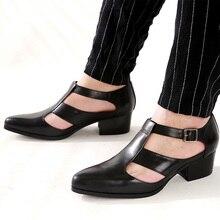 Sandales pour hommes 5cm talons hauts chaussures décontractées pour hommes bout pointu en cuir véritable sandalias sandales dété à boucle en cuir