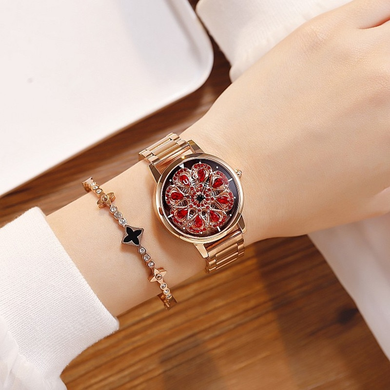 2019 Top Brand Women Watch Women Stainless Steel Wristwatches Lady Shining Rotation Dress Watches Rhinestone Clock montre femme enlarge