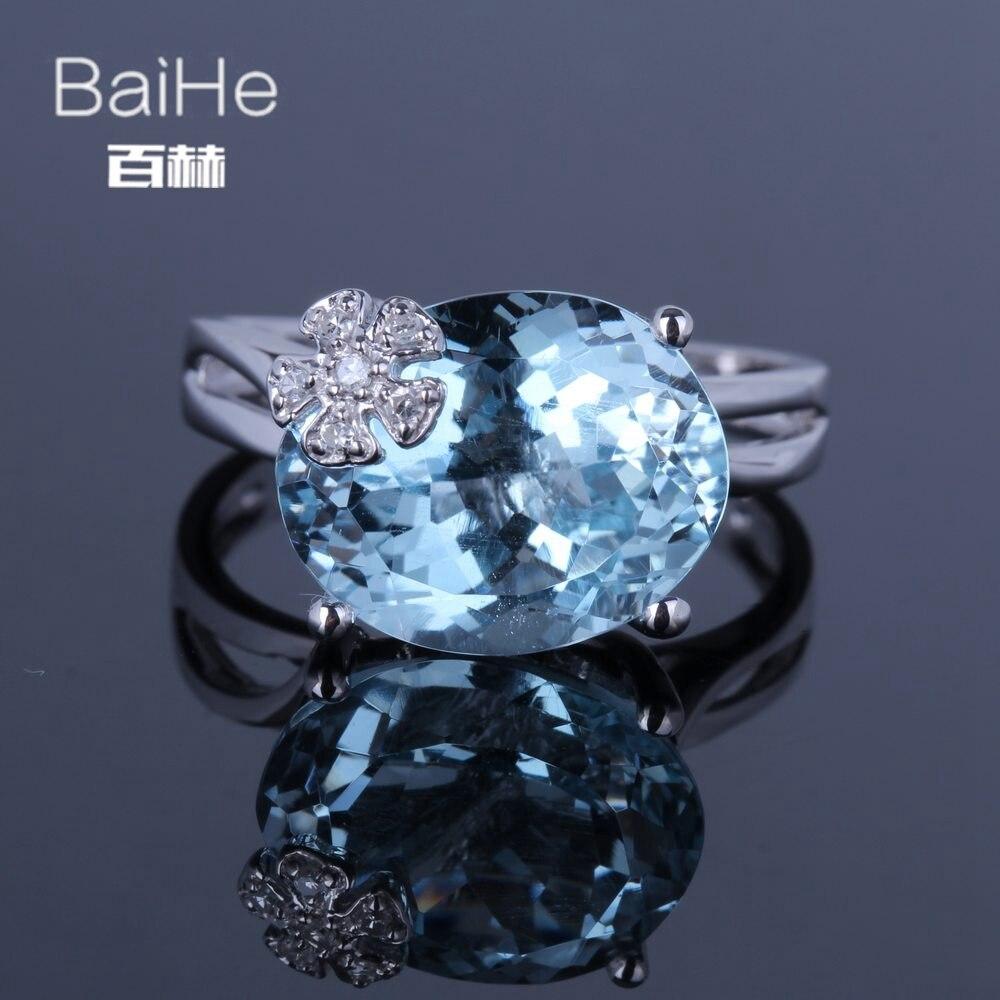 BAIHE Solid 14K белое золото 7.6CT Овальный натуральный голубой топаз свадебные женские модные ювелирные украшения сладкий Голубой топаз кольцо