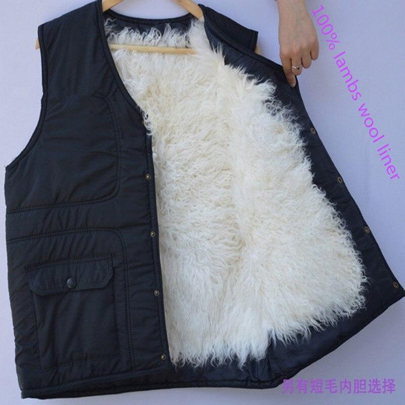 Abrigo de piel para hombre chaleco de lana invierno cálido forro de piel abrigo de lana polar chaleco chaqueta papá de mediana edad para hombre regalo