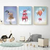 Dessin anime elephant ballon decor a la maison nordique toile Art peinture salon enfants chambre mur impression affiche Animal doux image