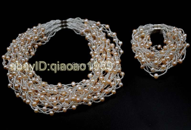 wholesale 10 Sets 3lines Genuine pink freshwater Pearl Necklace & Bracelet