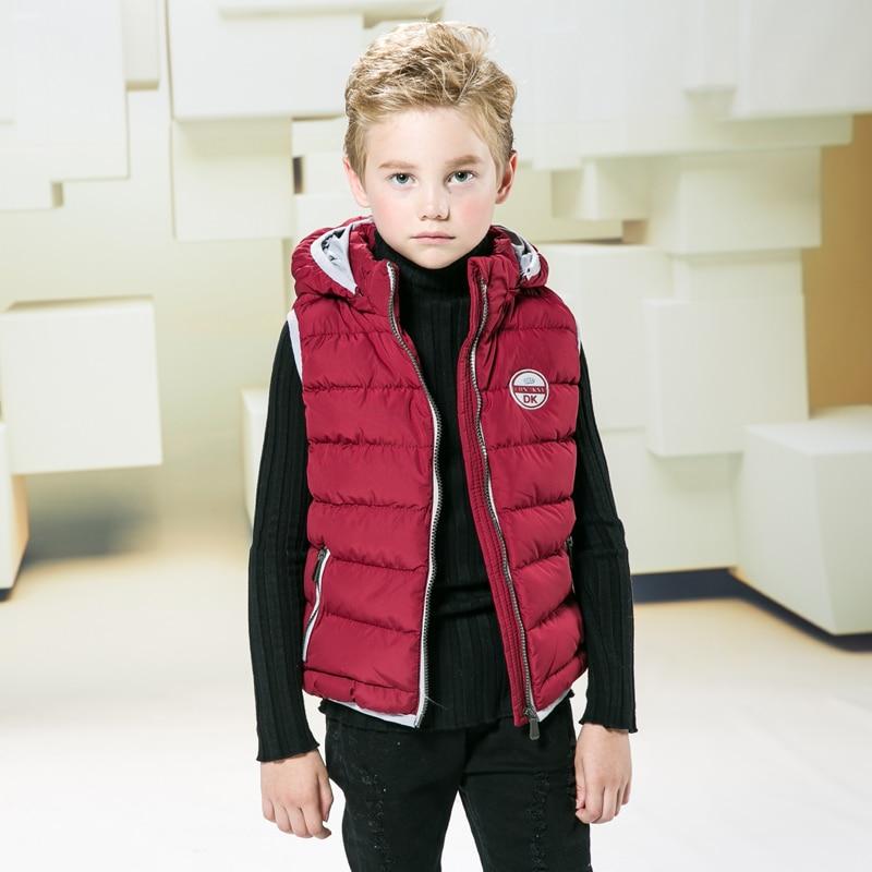 Winter Hooded Children Vests Kids Cotton Padded Vest Coats Children Fashion Waistcoats Boys Warm Outerwear Jacket 4-8 Years
