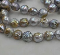 10 13mm gray growing furrow kasumi real natural pearl loose string 40cm