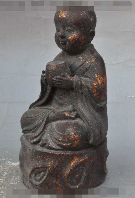"S02866 9 ""Budismo Chino de Bronce puro Joven Monje Bonzo Chaval Tazón Estatua de buda"