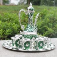 Handwork Chinese green color metal wine /tea zinc alloy wine  1 plate+ 1 pot +6 cups Decoration Tibetan Silver Brass