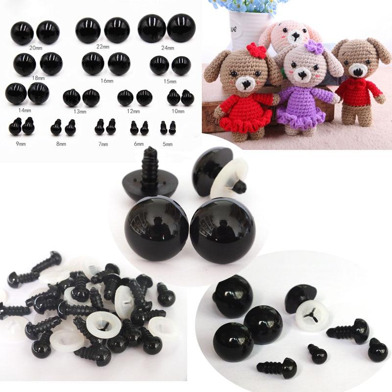 Защитные глаза для глаз из черного пластика, 5-18 мм, 20 шт./40 шт., мягкие игрушки для плюшевого мишки, кукла с животными, амигуруми, аксессуары для самостоятельной сборки-игрушечные глаза