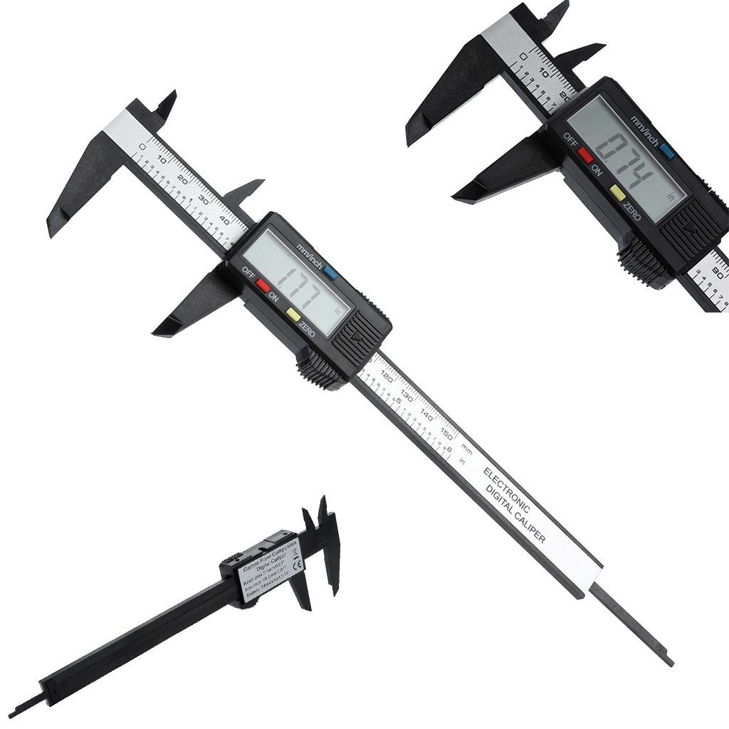 150mm/6 pulgadas LCD Digital electrónico de fibra de carbono Calibre Vernier calibrador micrómetro para carpintería herramientas de medición #15