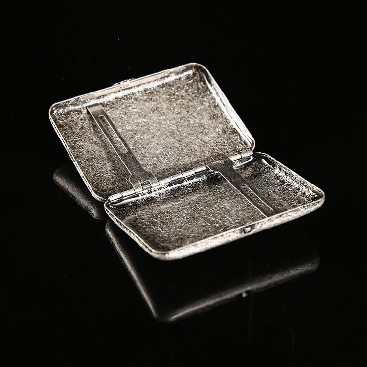 antique silver Vintage Classic Cigarette Box High Quality metal Cigarette case for 16pcs cigarettes slim retro Tobacco Holder