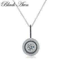 Classique Fine véritable 100% 925 en argent Sterling diapositive collier femmes Bijoux ronde Bijoux Femme colliers et pendentifs P074