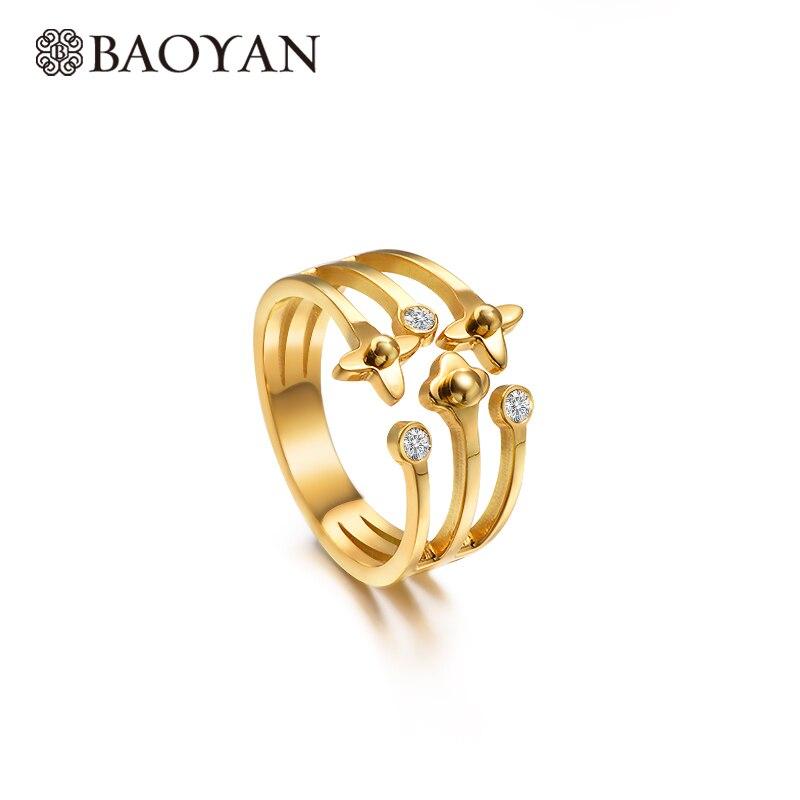 Baoyan 2019 na moda zircônia cúbica anel de noivado oco banda anel de dedo atacado chapeamento de ouro anéis de aço inoxidável para mulher