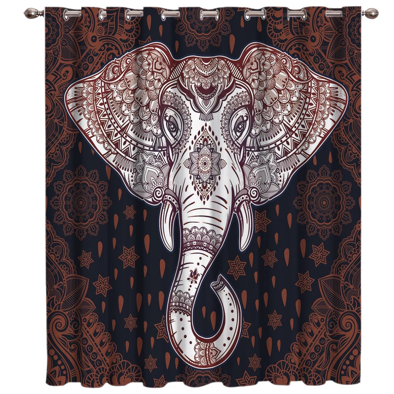 Cortinas de tratamiento de ventanas de elefante indio de África cortinas de ventana de cenefa decoración oscura cortinas de baño cocina tela de exterior