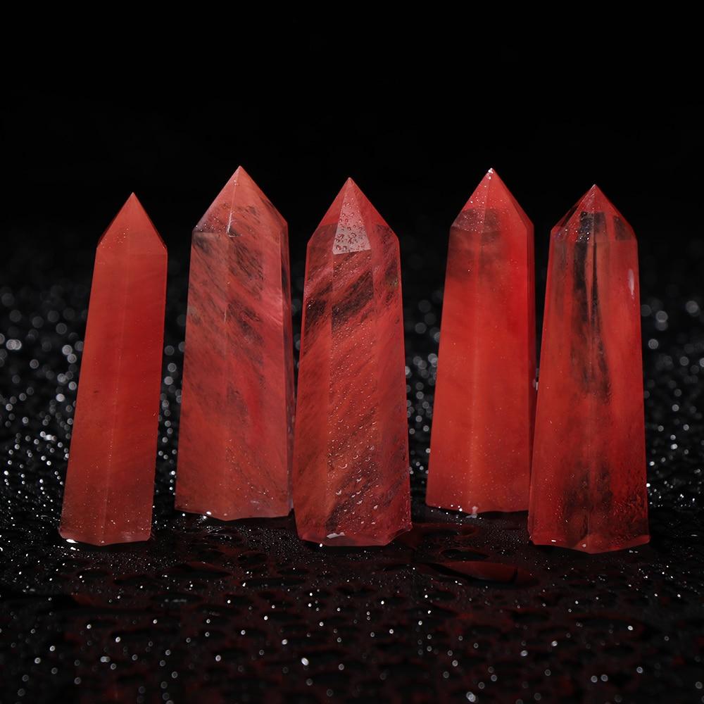 De cristal de cuarzo rojo de Natural raro de 2019 Uds., Varita de punto de curación única de 50-80mm, especímenes minerales coleccionables para decoración del hogar