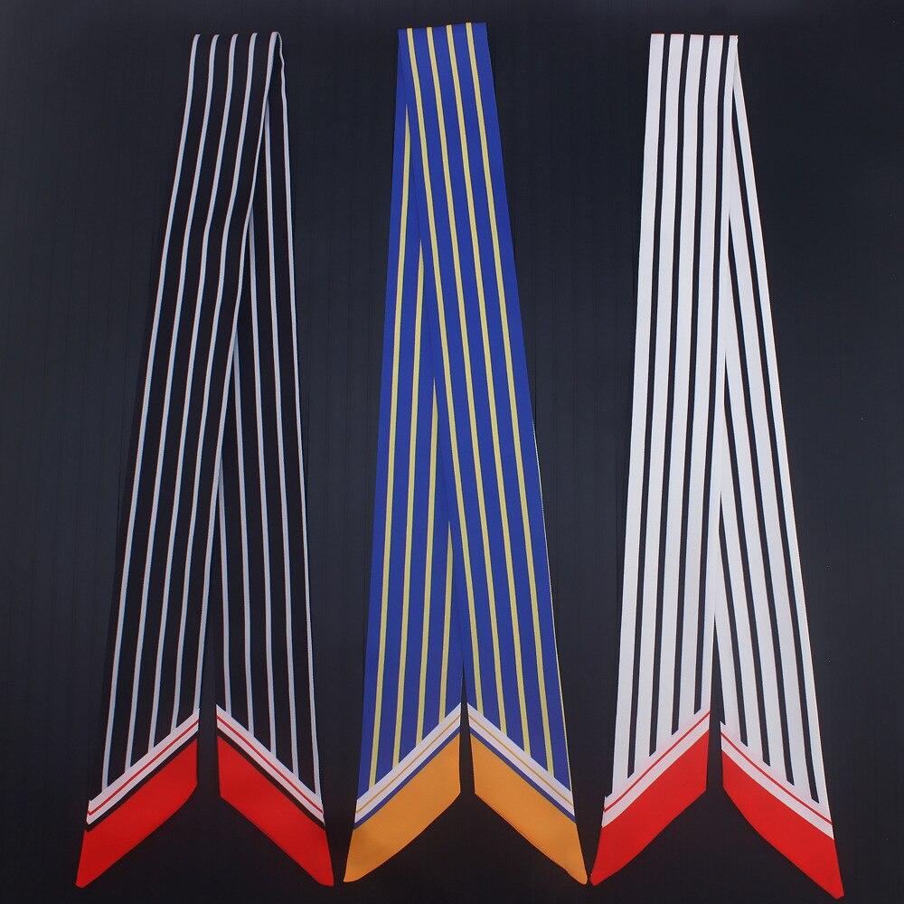 Luxus Marke Geometrische Striped Fashion Style Neue Einzigartige Dame Seide Gefühl Riband Tasche Schal Kleine Band Haar Band Bandeau Choker