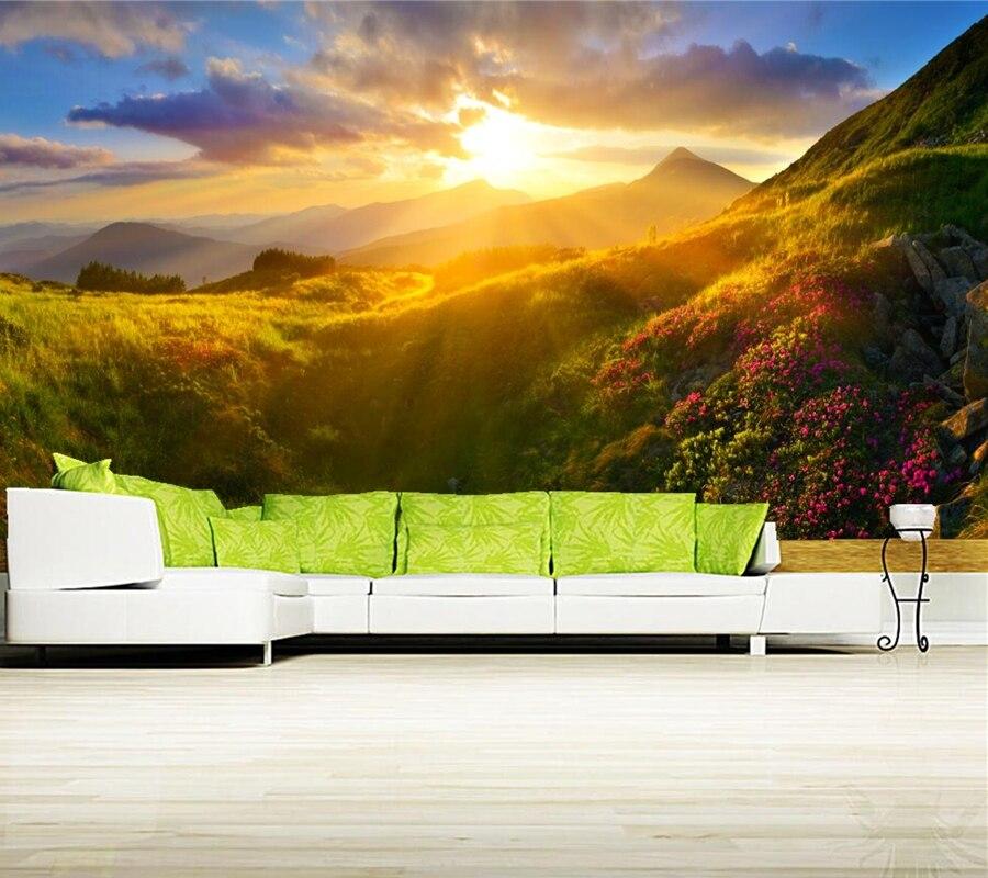 Sunrises and sunsets Mountains Grass light Nature wallpaper,restaurant bar living room sofa TV wall bedroom 3d wallpaper mural