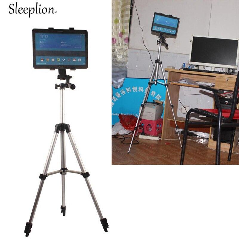 Sleelion profesional de aluminio trípode Tablet soporte de montaje para Samsung 7-11 pulgadas Tab S S2/3 Tab Pro 12-20CM de ancho