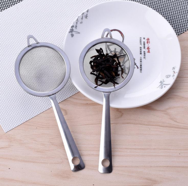 17,5*7 cm fino de acero inoxidable filtro de malla colador harina tamiz con mango de jugo de té de hielo colador cocina herramientas SN1840