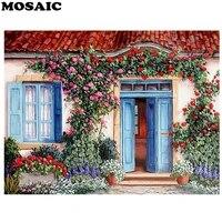 Peinture diamant theme maison douce  broderie complete 5D a mosaique de paysage floral de porte en point de croix  a faire soi-meme  decoration dinterieur