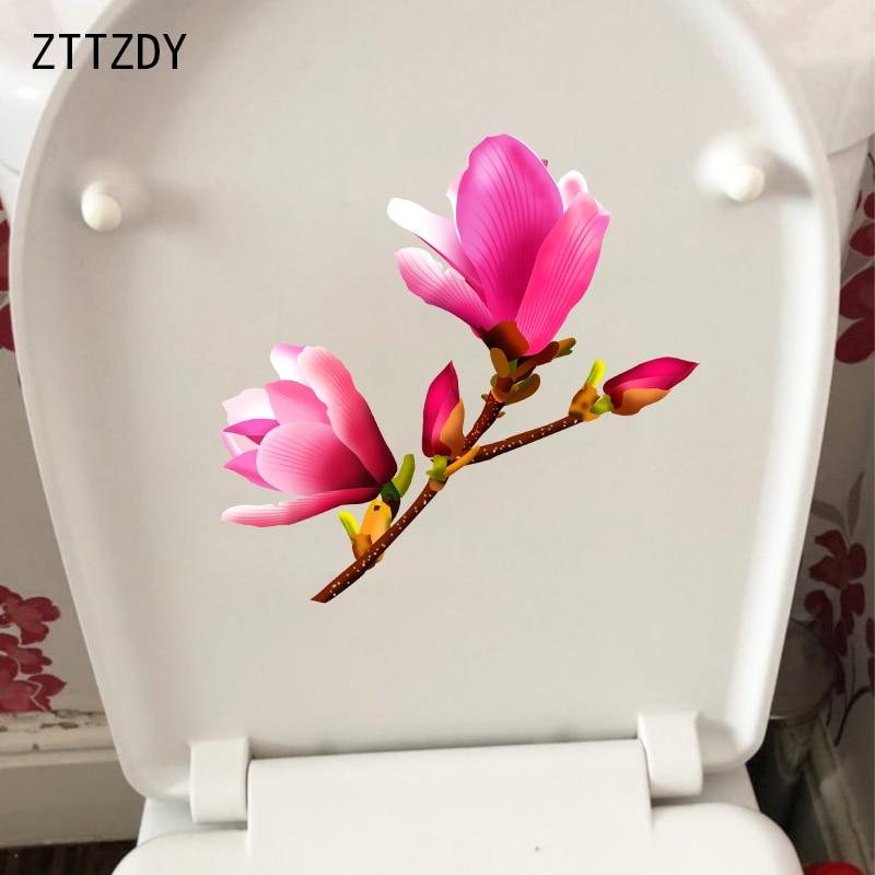 ZTTZDY 22,6*21,5 см розовая Магнолия домашняя комната Наклейка на стену в ванную декор наклейка для сиденья унитаза T2-0707