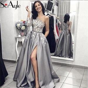SoAyle 2019 Evening Dresses A-Line Prom Dresses for Women Beading One Shoulder Lace Applique Split Formal Dress with Pocket