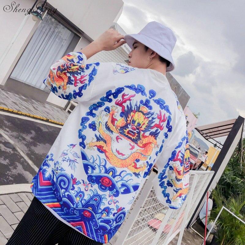 Японское кимоно yukata kimino haori мужской кардиган kimino халат для мужчин черный принт японские Топы Haori Япония Одежда G002