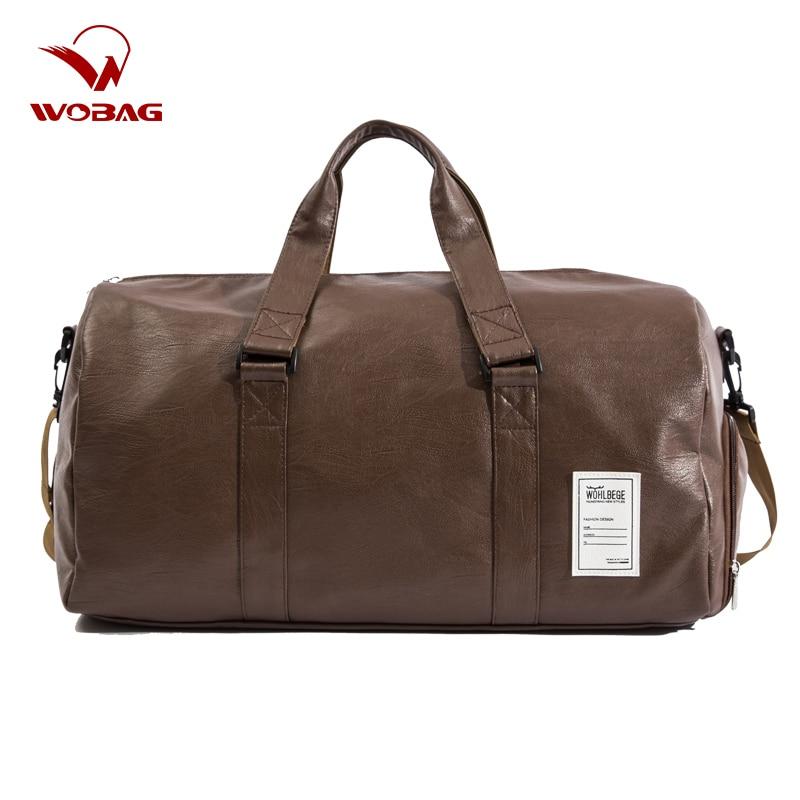 Men Travel Duffle Bag Women Travel Hand Luggage Bag PU Leather Waterproof Sports Gym Bag Large Capacity Weekend Handbag