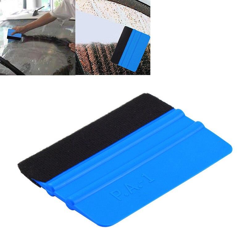 Housse de voiture en vinyle   99x72mm, bord de feutre Portable, bleu, outil dapplication, grattoir décalcomanie brosse de nettoyage de voiture, accessoires de voiture