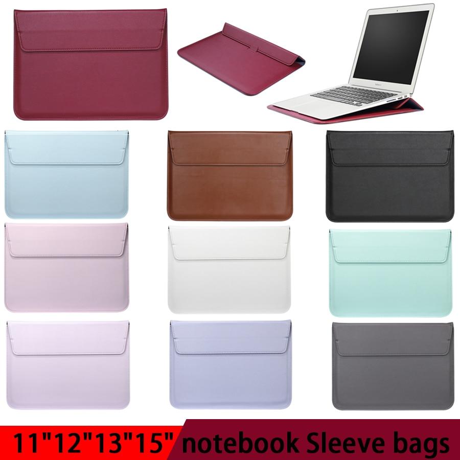 Funda de cuero para portátil para Macbook Air PRO 13 11 12 15 barra táctil Notebook PU Funda de cuero Ultrabook bolsa de transporte