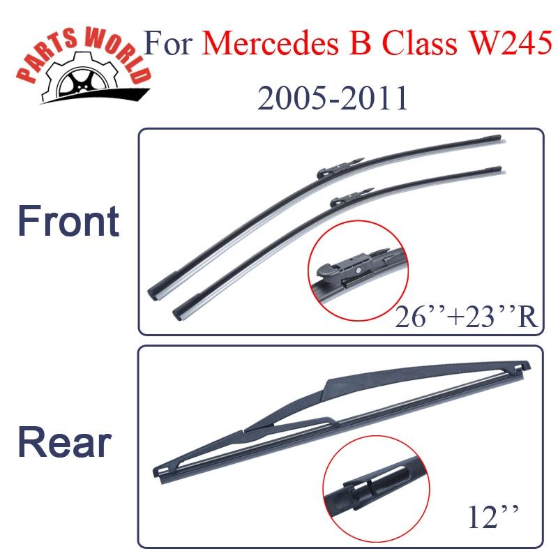 Combo de goma de silicona frontal y limpiaparabrisas traseros para Mercedes Benz Clase B W245,2005-2011, limpiaparabrisas accesorios de coche