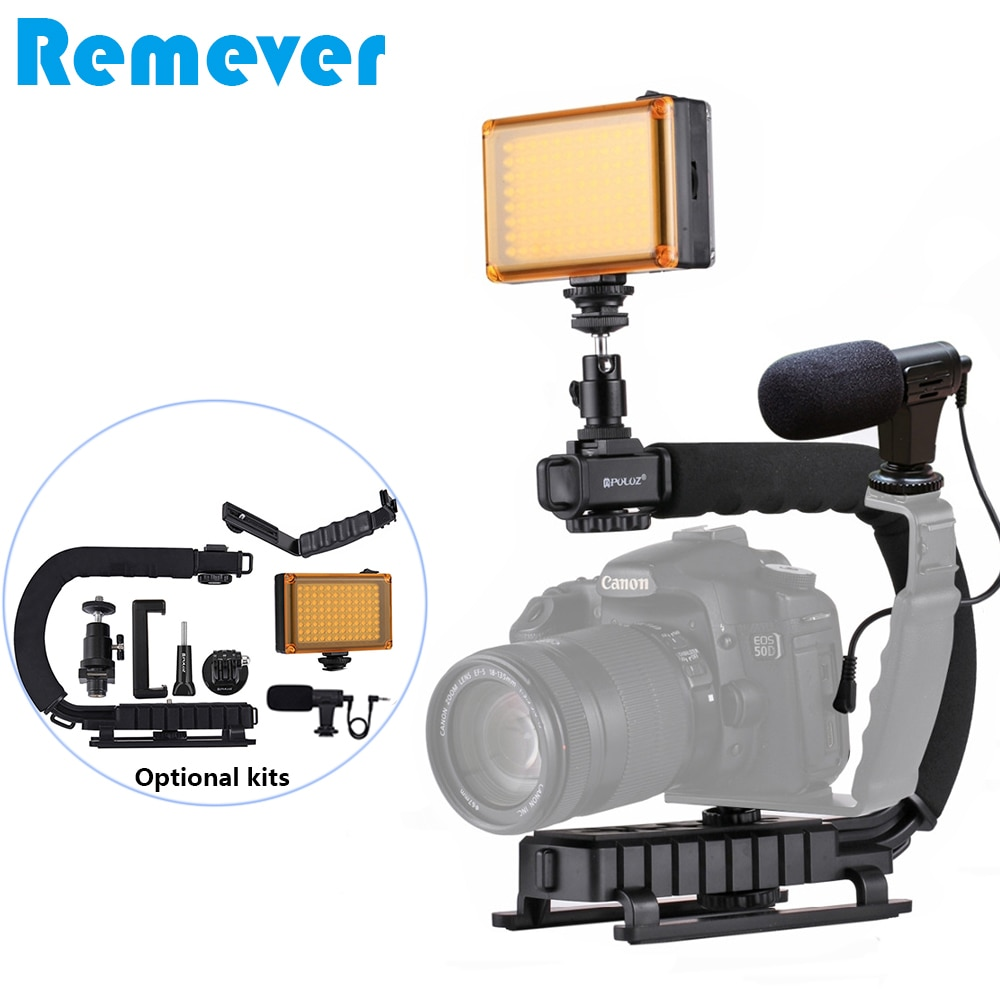 Handheld C Stabilizer for Canon Nikon Sony DSLR Cameras Handgrip with Optional Kits Microphone LED Flash Light Holder For Phones