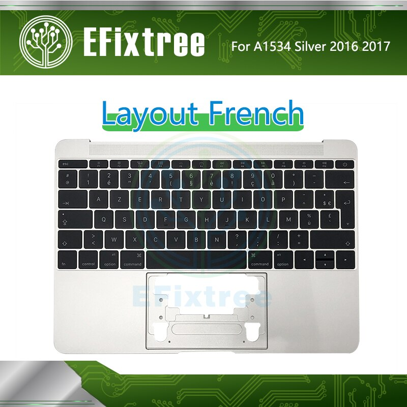 Silve Topcase Housing For Macbook Retina 12''A1534 Top Case Keyboard +Backlight French Layout EMC 3099 2991 Early 2016 Mid 2017