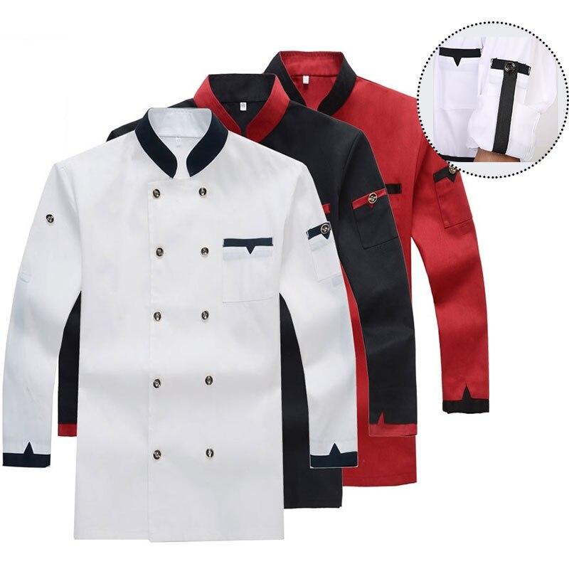 Uniforme de Chef restaurante chaqueta de cocinero de manga corta/larga, abrigo de Barista Baker Uniforme de Trabajo ropa de camarero