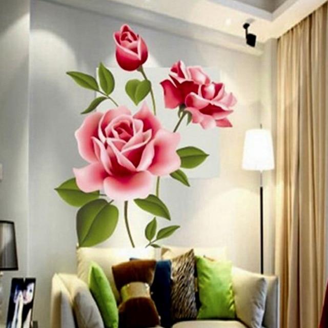 Romántico amor Rosa 3D pegatinas de pared de casa habitación dormitorio cocina flores calcomanías regalos Día de la madre de PVC poster artístico para mural