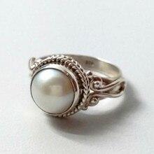 Najwyższej jakości Trend w modzie w stylu Vintage metalowe antyczne białe perły Lady pierścień biżuteria dla mężczyzny lub kobiety pierścionek na prezent akcesoria Dropship #5