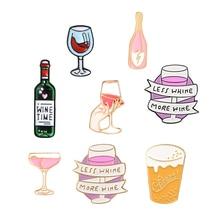 Wine Party Brooch Enamel Pin Cartoon Mini Beer Red Wine Cocktail bottle & glass Pin Button Denim Shirt Lapel Pins Women Men Gift