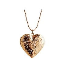 Hyperbole colliers couleur or Rose Vintage Photo boîte flottant grand coeur médaillon collier bijoux de mode MKA1015