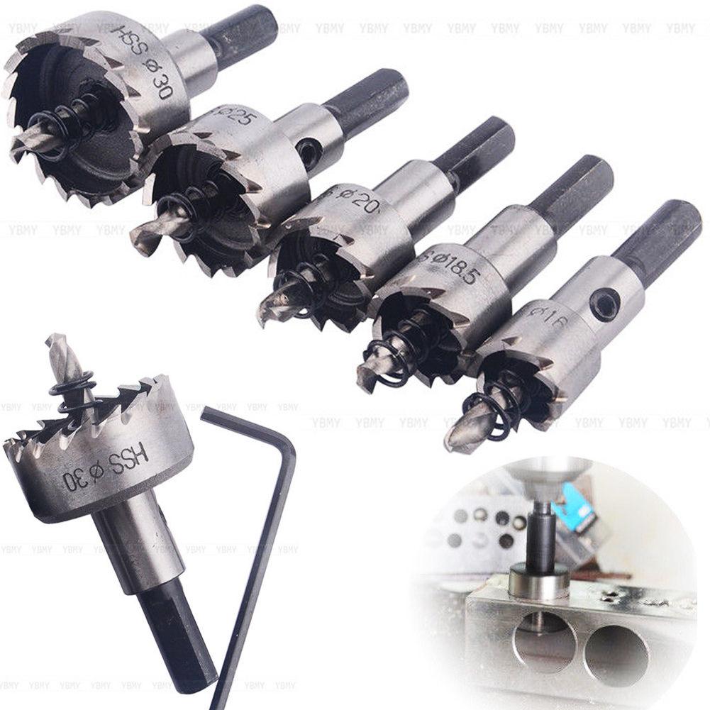 5 pçs/lote Furo de Broca HSS Pouco Viu Set para Liga De Metal De Metal Buraco Ferramentas de Perfuração De Corte De Madeira de Aço Inoxidável 16-30mm