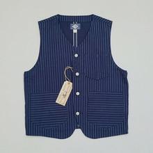BOB DONG Wabash rayure travail gilet Vintage 1920s Indigo bleu hommes veste en jean L
