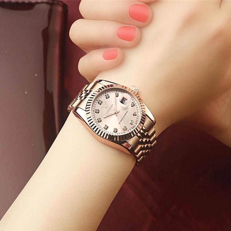 Women watch Deerfun famous brand business diamond rose gold calendar luxury waterproof quartz wristwatch relogio feminino