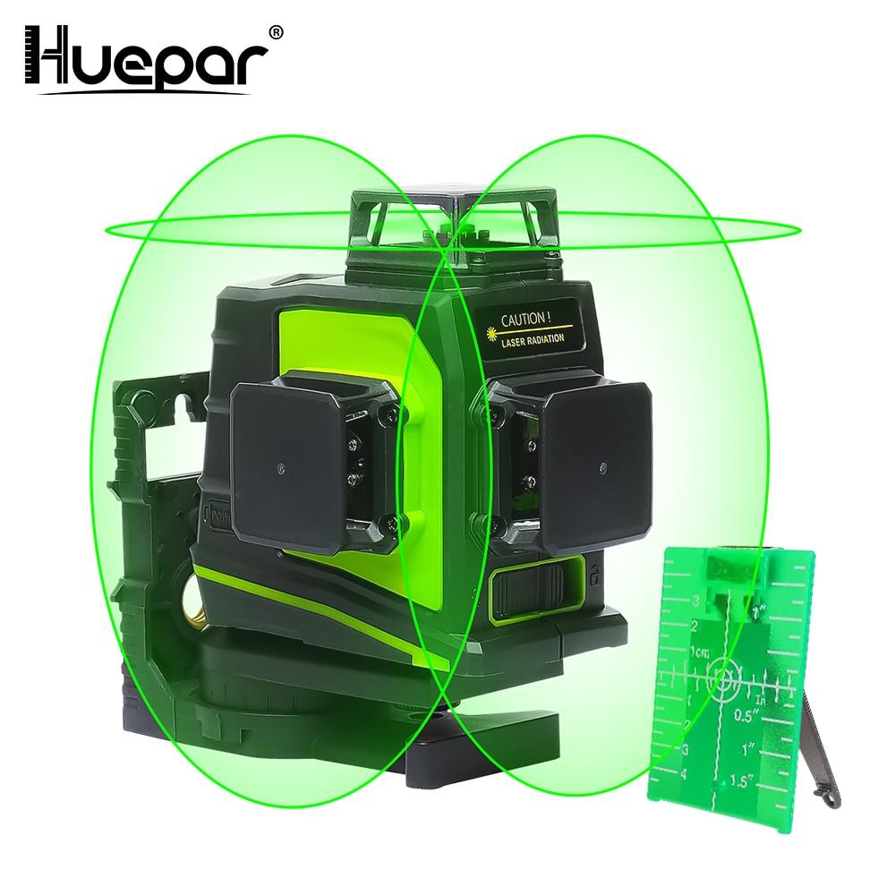 Huepar 12 линий 3D перекрестный лазерный уровень самонивелирующийся 360 градусов вертикальный и горизонтальный поперечный зеленый луч линия USB з...