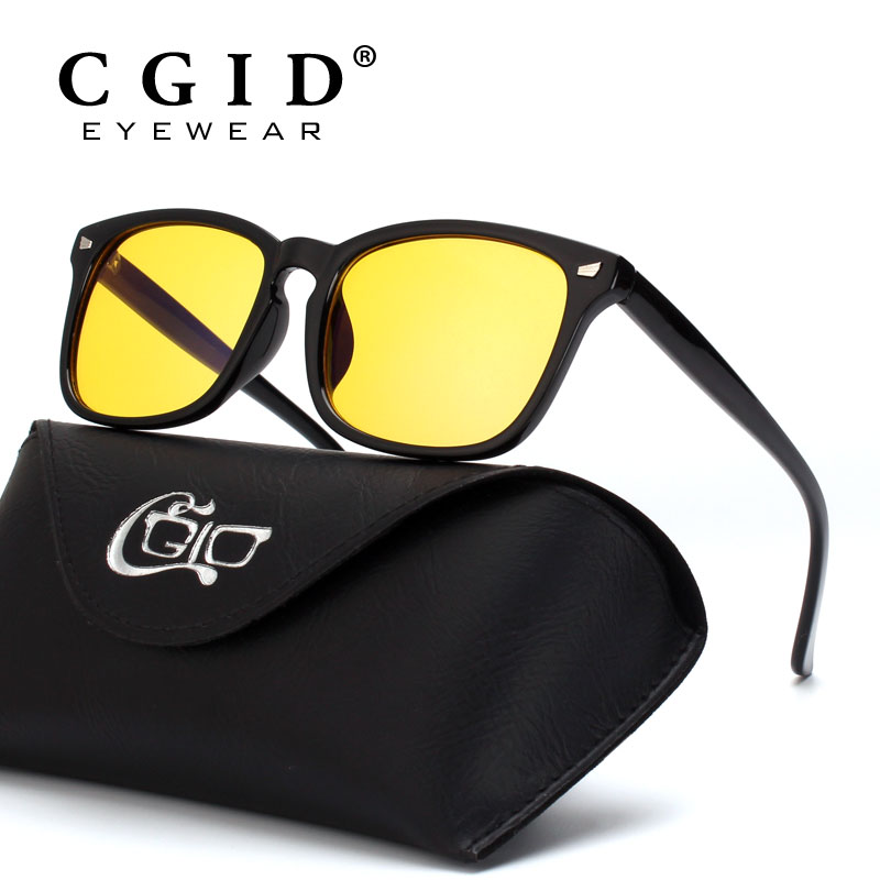 CGID Unisex gafas de ordenador bloqueo luz azul y protección UV 100% marco cuadrado Vintage con lente amarilla CY82